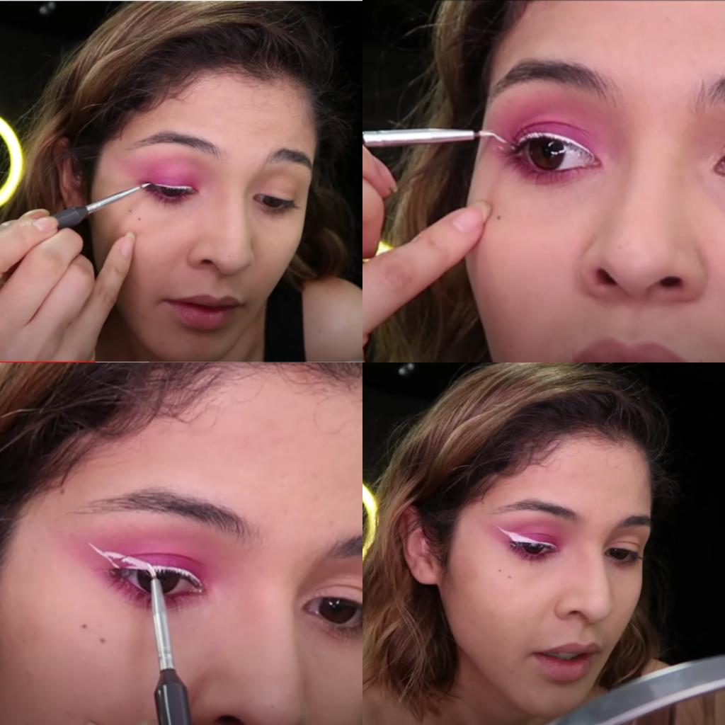 Passo a passo do delineador branco na maquiagem rosa