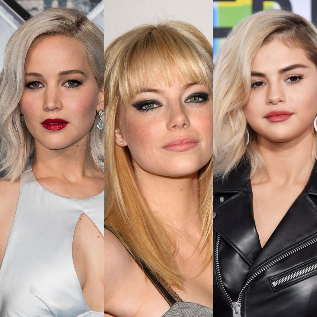 Imagem com 3 atrizes loiras que acertaram no tom, da esquerda para a direita: Jennifer Lawrence, Emma Stone e Selena Gomez.