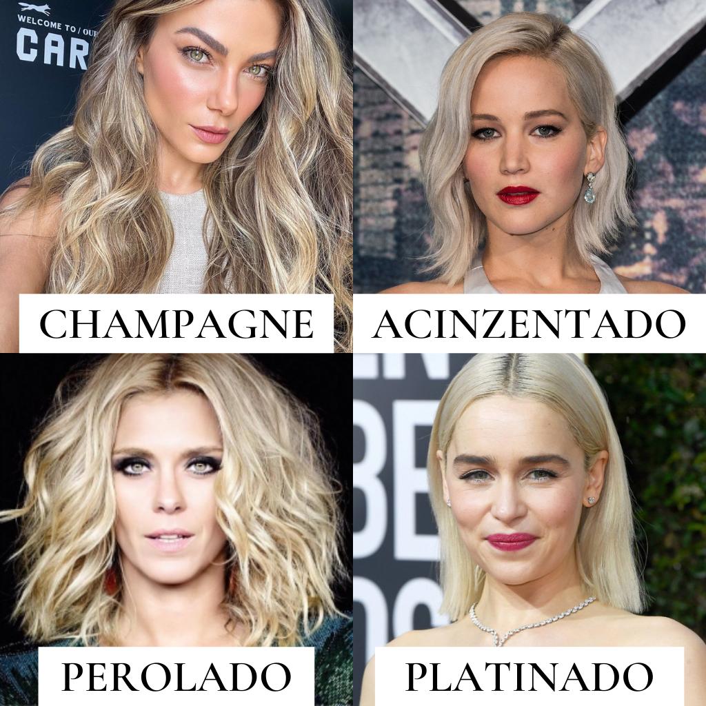 Imagem com algumas opções de loiro frios, na sequência: loiro champagne, loiro acinzentado, loiro perolado e loiro platinado