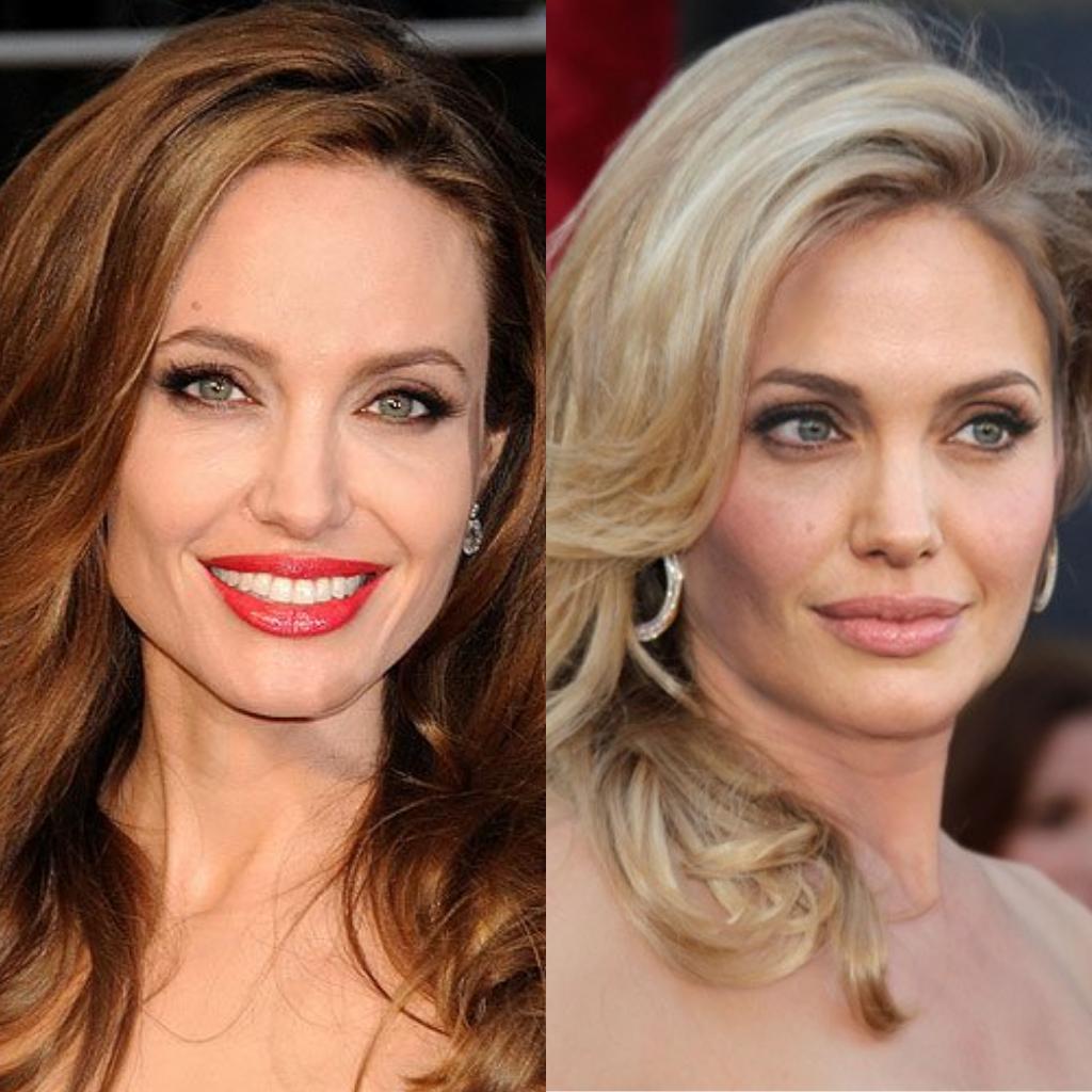 Imagem da atriz Angelina Jolie mostrando o antes e depois, de morena para loira.