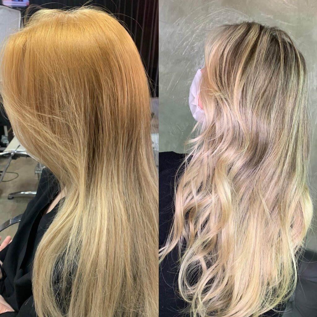 Antes e depois de uma correção de cor para conquistar o loiro ideal